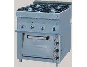 Κουζίνα αερίου 4 εστιών με ηλεκτρικό φούρνο διαστ.80x80x92 cm ΕLGAS