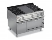 GAS SOLID TOP WITH 4 BURNERS ON RIGHT ON GAS OVEN