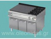 Κουζίνα αερίου 2 εστιών και πλάκες μαγειρικής-ψησίματος με ντουλάπια στο κάτω μέρος