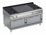 Κουζίνα αερίου 4 εστιών με 2 φούρνους και πλάκα μαγειρικής-ψησίματος
