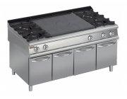 Κουζίνα αερίου 4 εστιών και πλάκες μαγειρικής-ψησίματος & ουδέτερα ντουλάπια στο κάτω μέρος
